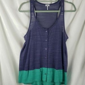 Splendid Colorblock M tank blue green buttons